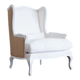 18th Century French Louis XV Period White Linen & Burlap Chair