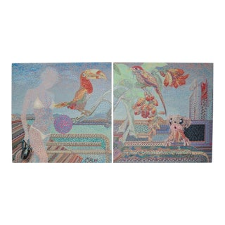 Circa 1988 Tropical Pointillism Diptych Paintings - A Pair