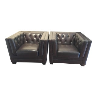 Brown Leather Club Chairs - a Pair
