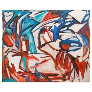 1986 Vintage Abstract Oil on Canvas Painting by D. Harris