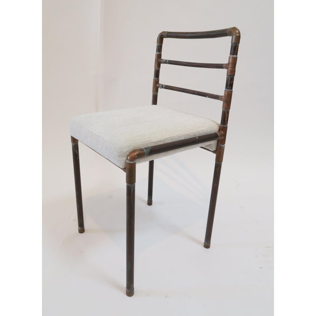 Copper Upholstered Pipe Chairs - Set of 4 - Image 6 of 8