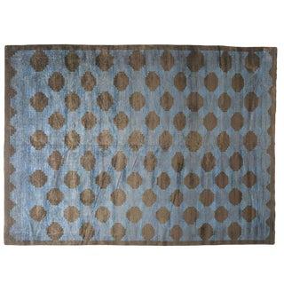 Polka Dotted Blue Rug -- 10′ × 13′11″