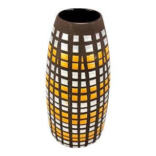 Strehla Signed East German Ceramic Mosaic Incised Vase