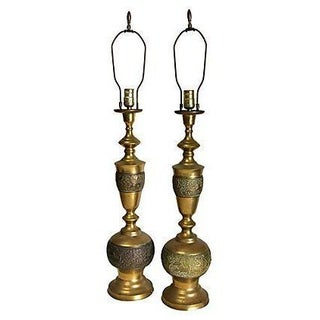 Brass Phoenix Lamps - A Pair