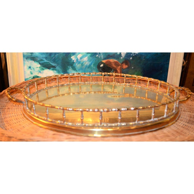 Image of Hollywood Regency Brass Bamboo Tray