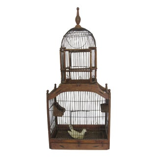 1880s Antique Wood & Wire Birdcage