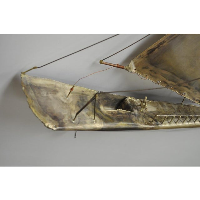 Vintage RaMan Brutalist Mid Century Modern Clipper Ship Wall Sculpture Jere Style - Image 8 of 11