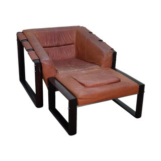 Mid-Century Modern Percival Lafer Rosewood Frame Leather Lounge Chair & Ottoman