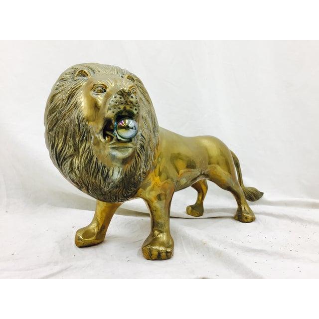 Vintage Brass Lion Sculpture - Image 4 of 10