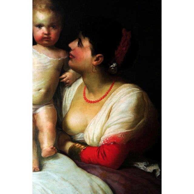 """Mother Playing with Child,"" 19th C. Oil Painting - Image 5 of 9"