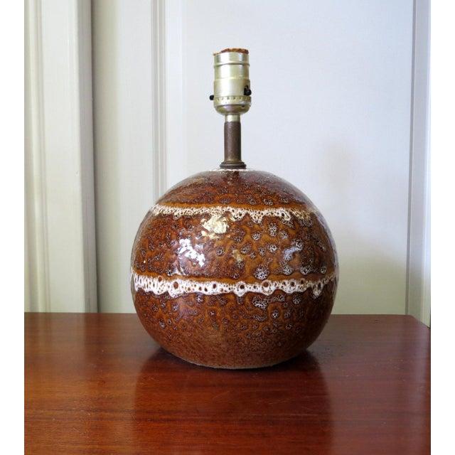 Image of Mid-Century Modern Round Pottery Lamp