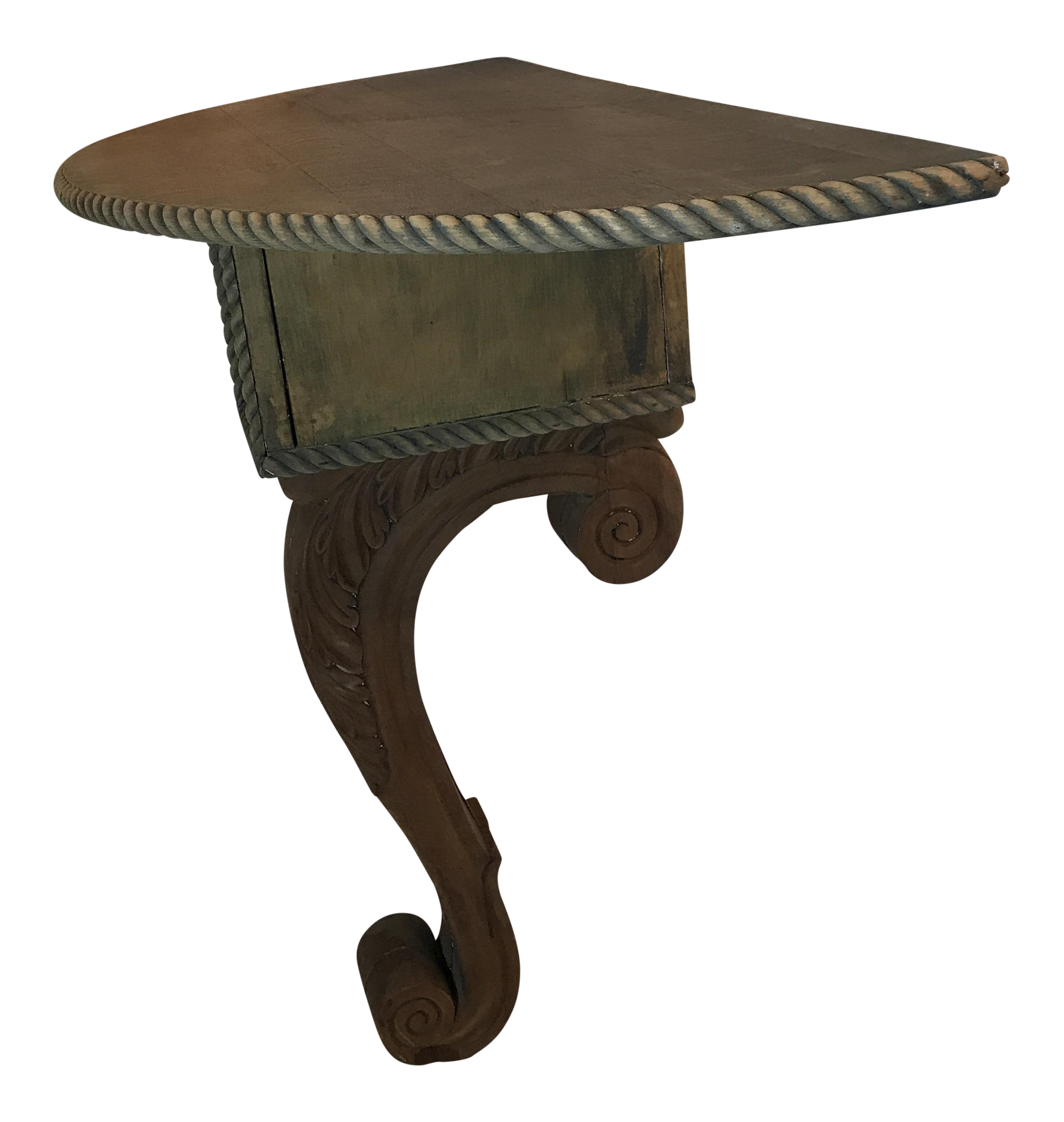 Wall Console Table antique wood one legged wall console table | chairish
