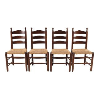 English Country Ladder Back Chairs - Set of 4