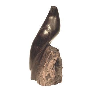 Mid Century Hand Carved Wood Bird Sculpture