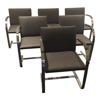 Mies Van der Rohe Chrome Flat Bar Brno Chairs - Set of 6