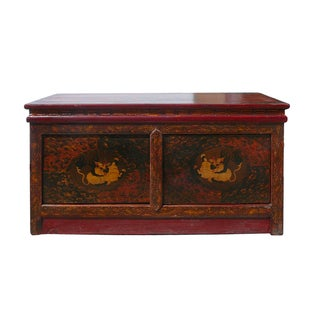 Low Table with Tibetan Foo Dogs Graphic