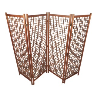 Mid-Century Modern Teak Four-Panel Lattice Folding Wall Divider
