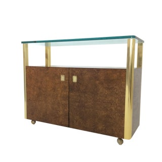 Burled Wood & Brass Console by Century Furniture Company