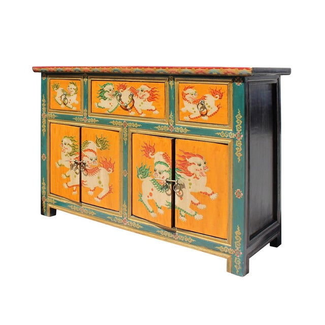 Chinese tibetan foo dog orange sideboard console cabinet for Sideboard orange