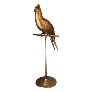 Vintage Brass Parrot Decor Necklace Holder