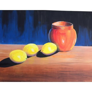Original Lemon On A Table Acrylic Paint