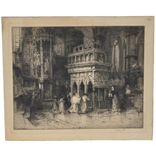 Traditional Hedley Fitton (1859-1929) Gothic Architecture Etching c.1910