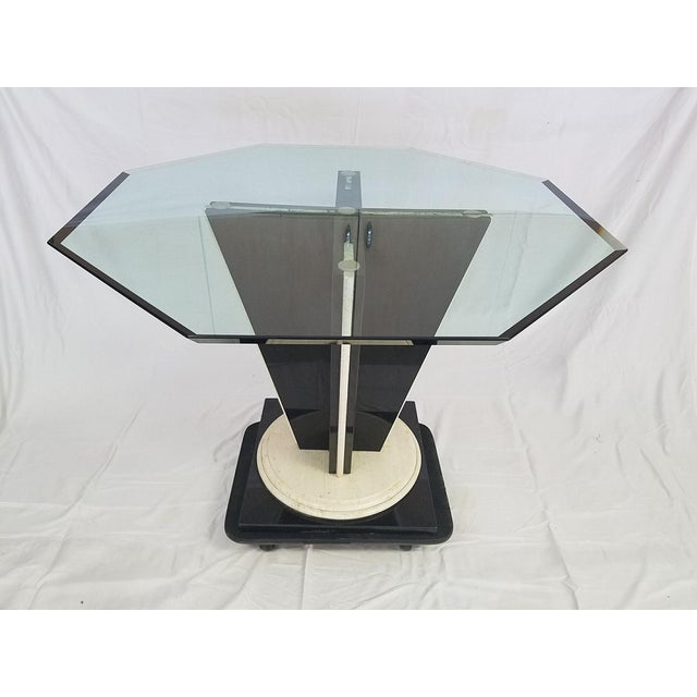 Image of Glass Top Table with Granite & Marble Base