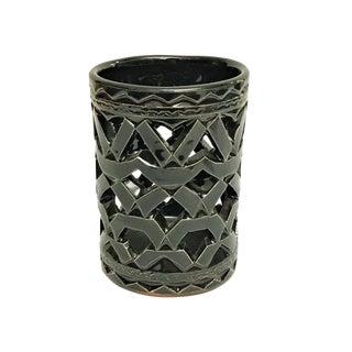 Moroccan Hand Painted Black Ceramic Tealight Holder