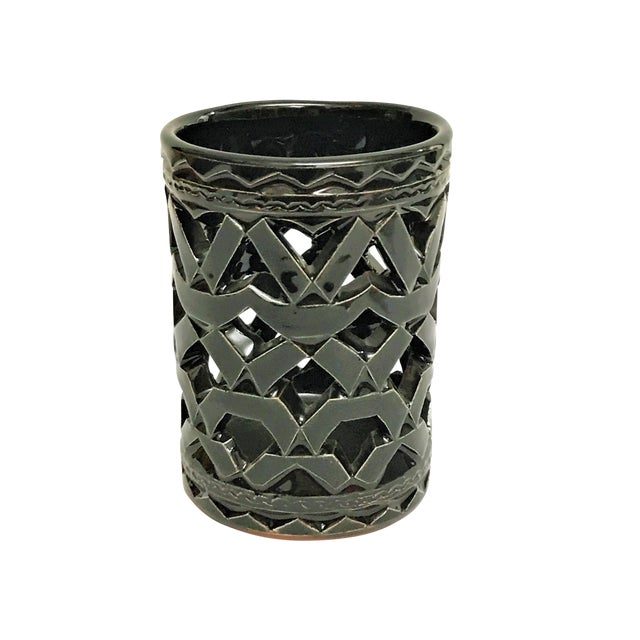 Image of Moroccan Hand Painted Black Ceramic Tealight Holder