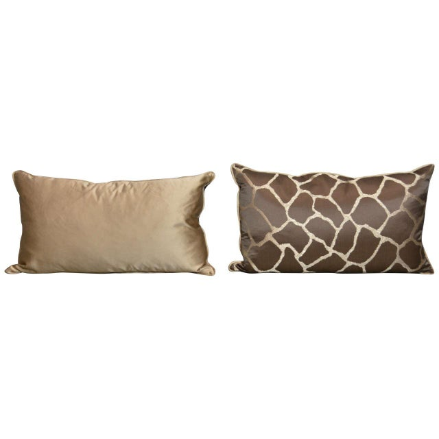Scalamandre Brown Giraffe Print Pillows - A Pair - Image 1 of 5