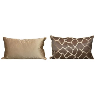 Scalamandre Brown Giraffe Print Pillows - A Pair