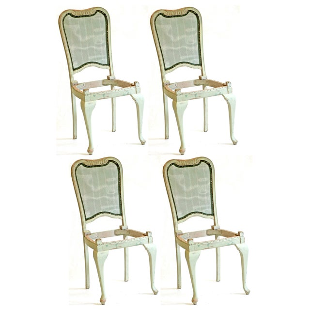 Mint Green Solid Oak Vintage Dining Chairs S 4 Chairish