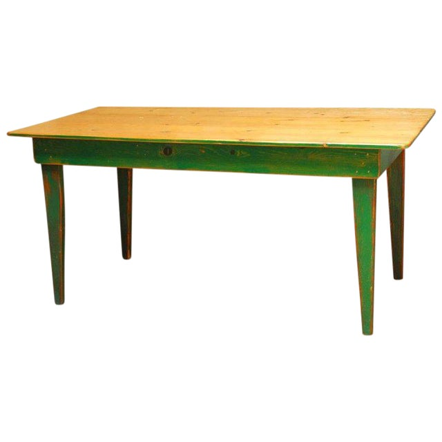 Rustic french pine painted farmhouse table chairish for 65 farmhouse table
