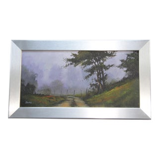 Country Lane with Trees at Dusk Oil Painting by Bumo
