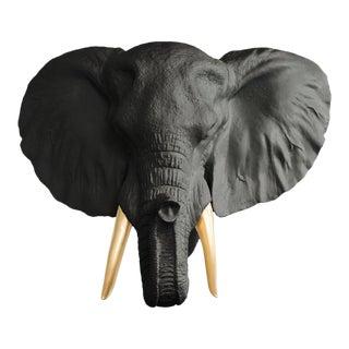 Black & Gold Elephant Head Wall Bust