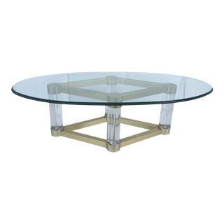 Modern Lucite & Gold Based Glass Top Coffee Table