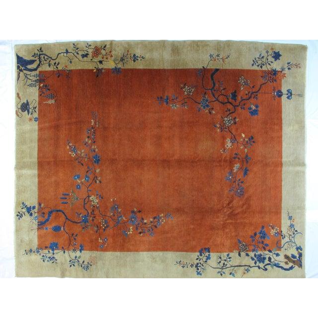 Antique Art Deco Chinese Carpet - 9′3″ × 11′4″ - Image 4 of 4