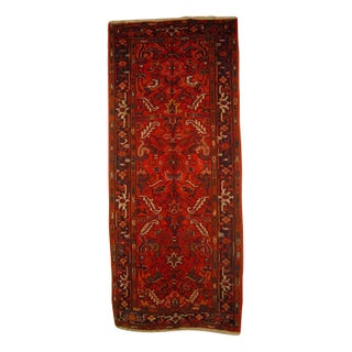 "Antique Persian Heriz Runner - 3' 11"" x 9' 2"""