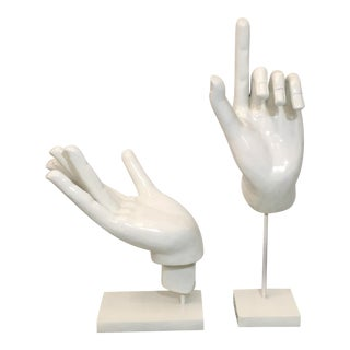 Pair of Large Scale Modern Hand Sculptures