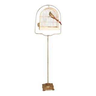 Vintage Metal Birdcage & Stand