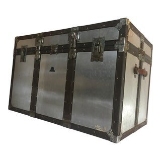 Vintage Rustic Metal Storage Trunk & Tray