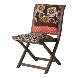 Anthropologie Terai Folding Chair Upholstered Eclectic Pattern