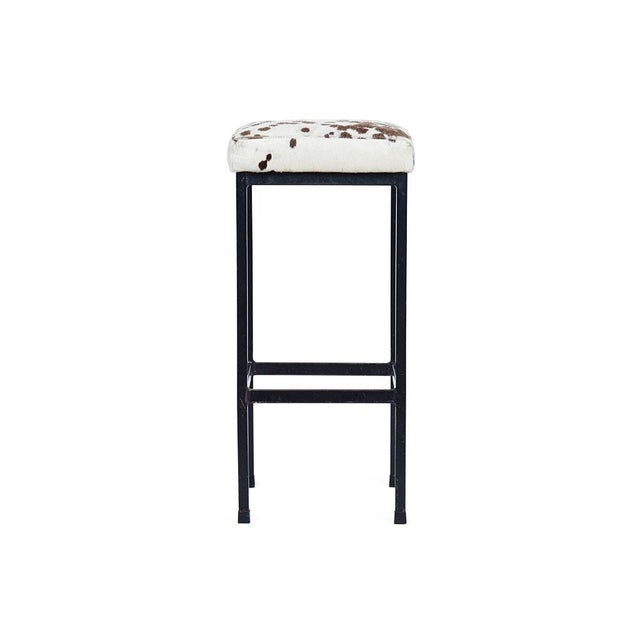 Mid-Century Retro Iron and Cowhide Barstools - A Pair - Image 4 of 6