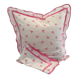 Pink Heart Print Euro Shams - A Pair