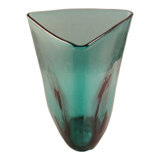 Blenko Teal Handblown Glass Triangle Vase