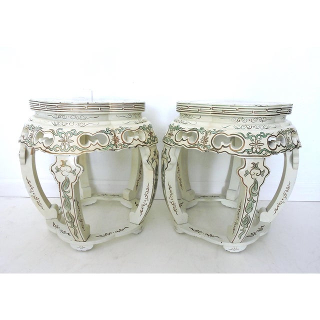 Oriental Lacquer Garden Stools - a Pair - Image 2 of 8