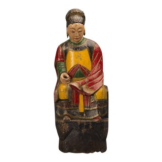 A large hand carved and painted female temple figure from the T'ung Chi period in China c.1865