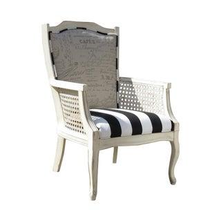 Parisian Black and White Striped Cane Arm Chair