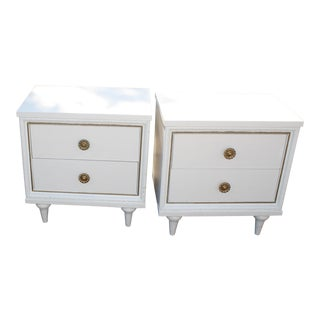 Hollywood Glam White Night Stands - A Pair