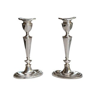 Deco-Style Silver-Plate Candlesticks - A Pair